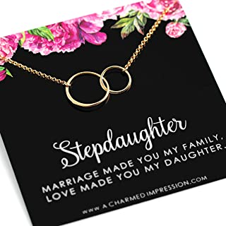 Stepdaughter Gifts from Stepmom Stepdad • 14k Gold Stepdaughter Necklace and Keepsake Card • Wedding Christmas Birthday Gifts from Mom Dad • Marriage Made You My Family, Love Made You My Daughter