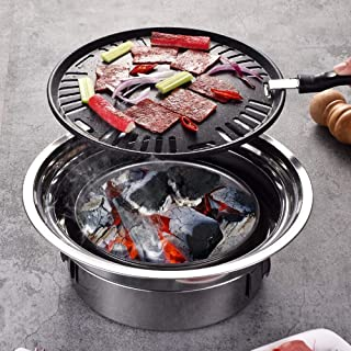 Multifunctional Charcoal Barbecue Grill, Hot Pot Barbeque Grill, Tabletop Korean BBQ Grill, Household Smoker Grill for Out...