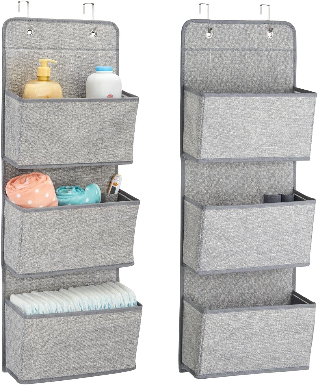 mDesign Soft Fabric Wall Mount/Over Door Hanging Storage Organizer - 3 Large Pockets for Child/Kids Room or Nursery, Hooks Included - Textured Print, 2 Pack - Gray