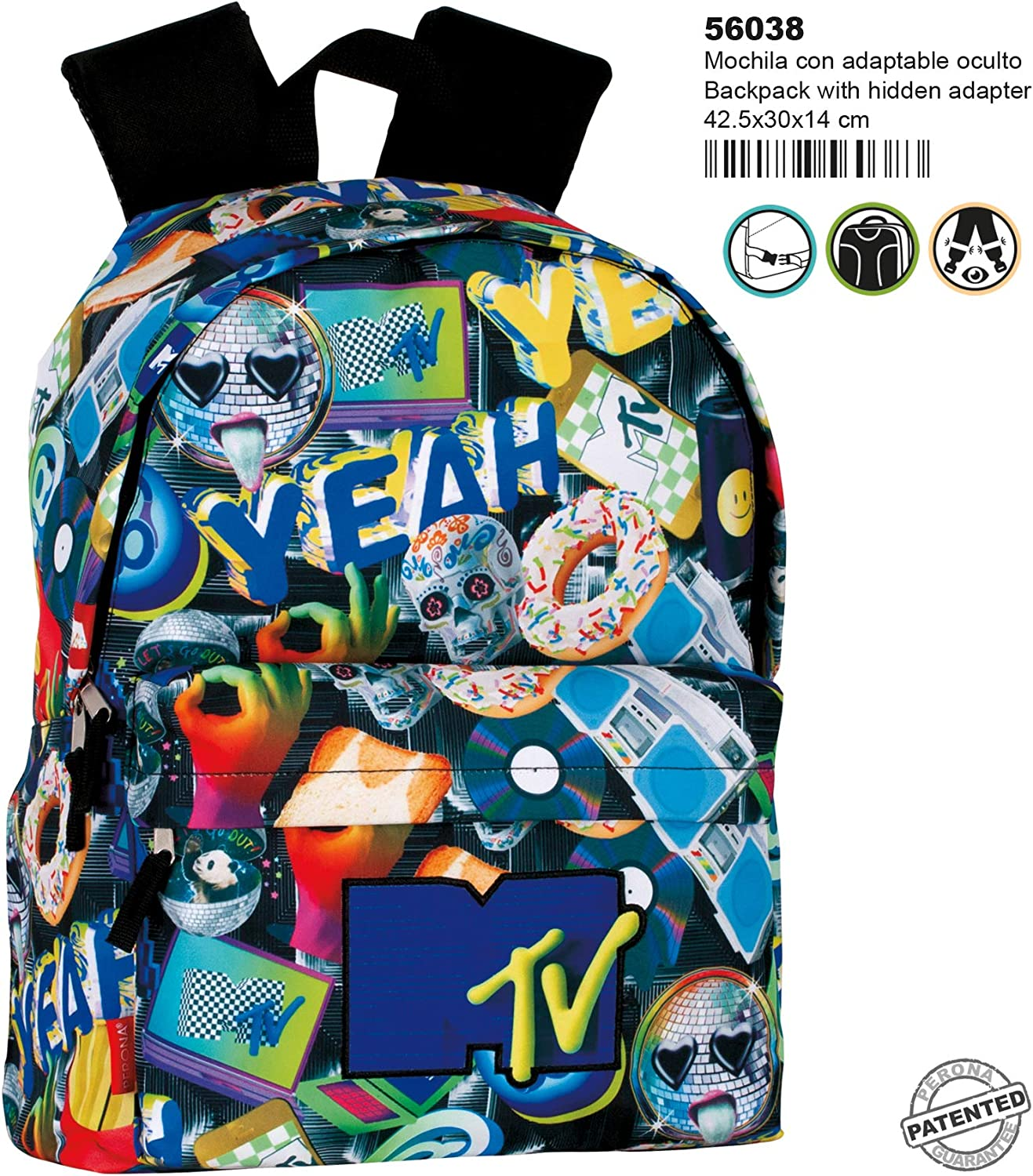 Montichelvo Backpack Jr A.O. MTV Random School Bag, 43 cm, Multicolour
