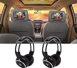 Pair Rockville RHP7-GR 7 Grey Plug N Play Car Headrest Monitors+Headphones