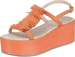 Saint G Womens Orange Leather Open Toe Tassel Platform Heels