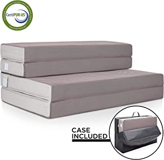 Best Choice Products 4in Thick Folding Portable Full Mattress Topper w/Bonus Carry Case, High-Density Foam, Washable Cover - Gray