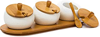 Relaxdays JIAO Spice Jars Spice Holders Made Of Ceramics With Bamboo Lid And Holder, Spice Storage Solution Kitchen Stand Decorative Chinese Style With Matching Spoons, natural