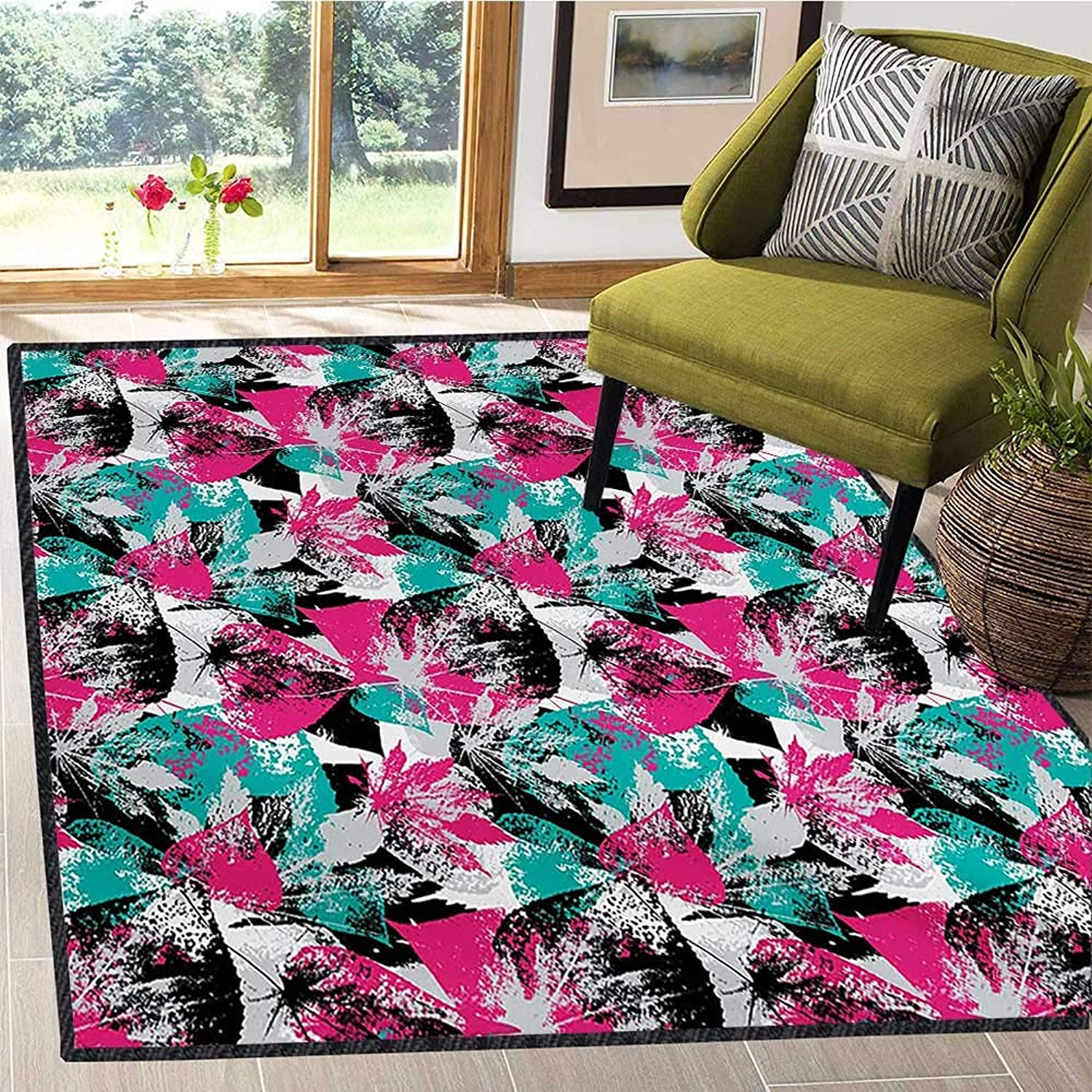 Grunge, Door Mats for Inside, Abstract Leaves with Various Designs Nature Ornamental Blossoming Earth, Door Mat Outside 5x6 Ft Hot Pink Seafoam Black