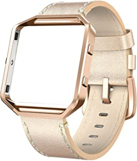 """Swees Fitbit Blaze Bands Leather with Frame Small (5""""- 7.1""""), Leather Band with Silver/Rose Gold Metal Frame for Fitbit Bl..."""