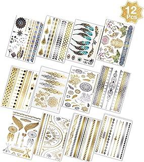 LIZHIGE Tillfällig tatuering 200 designer, vattentät tjock halv permanent tatuering klistermärken i glänsande guld silver,...
