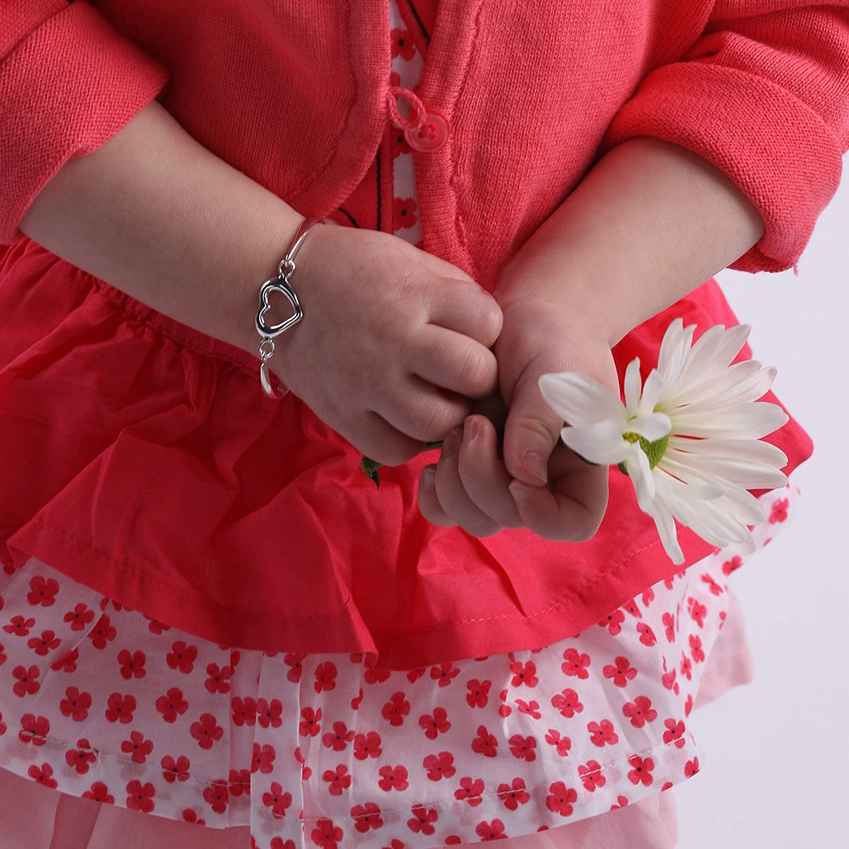 Childrens Sterling Silver Open Heart Bangle Bracelet for Girls