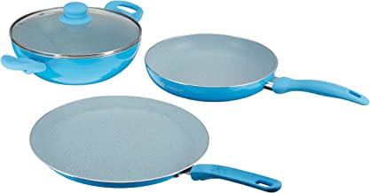 Wonderchef French Blossom Aluminium Fry Pan Set, 3-Pieces, Blue