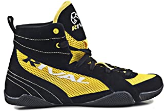 RIVAL BOXING BOOTS-LOW TOPS WITH MESH (YELLOW & BLACK, 7)