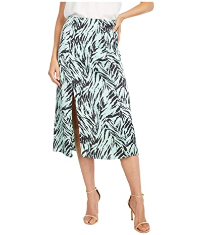 WAYF Aleria Slit Front Midi Skirt (Mint Tiger) Women