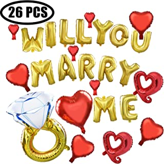 Best Coxeer Wedding Balloons, 26 PCS Foil Will You Marry Me Balloons Diamond Ring Balloon Engagement Ring Balloon for Wedding Proposal Engagement Party Decor Review