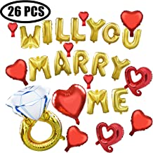 Coxeer Wedding Balloons, 26 PCS Foil Will You Marry Me Diamond Ring Balloon for Wedding Proposal