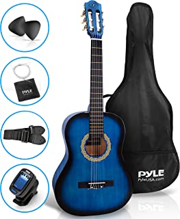 "Beginner 36"" Classical Acoustic Guitar - 3/4 Junior Size 6 String Linden Wood Guitar w/ Gig Bag, Tuner, Nylon Strings, Picks, Strap, For Beginners, Adults - Pyle PGACLS82BLU (Blue Burst)"