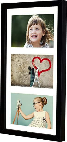BD ART 18x35 Cm 7x14 Inch 3 Aperture Black Collage Picture Frame With Mat For 3 Photos 4x6 Inch