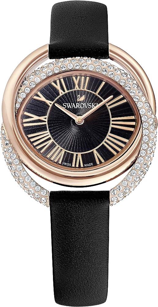 Swarovski orologio duo, pvd oro rosa da donna con cinturino in pelle 5484373