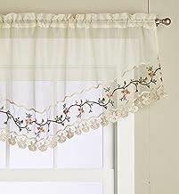 Editex Home Textiles Rose Garden Valance, 60 by 26-Inch, Ecru/Ecru