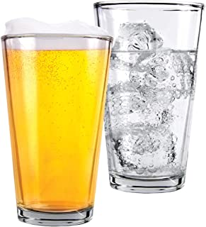 1 Pint Beer Glasses - 2 Pack – Elegant 16 oz Tall Clear Drinking Glass and All Purpose Tumblers – Pub Style Design For Hom...