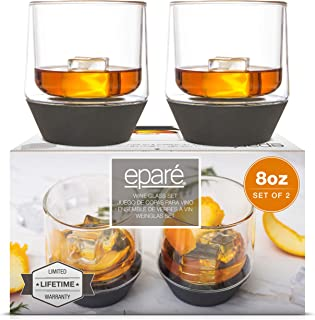 Eparé Silicone Base Glasses - Stemless Cups - Set of 2 Cocktail Tumblers - Spill Preventing Glassware 8-ounce transparent ...