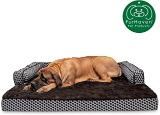 Furhaven Pet Dog Bed   Orthopedic Plush Faux Fur & Décor Comfy Couch Traditional Sofa-Style Living Room Couch Pet Bed w/Removable Cover for Dogs & Cats, Diamond Brown, Jumbo Plus