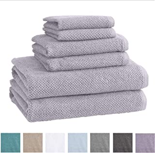 Great Bay Home 100% Cotton Bath Towels, Luxury 6 Piece Set - 2 Bath Towels, 2 Hand Towels and 2 Washcloths. Quick-Dry, Absorbent Textured Popcorn Weave Towels. Acacia Collection (6 Piece Set, Lilac)