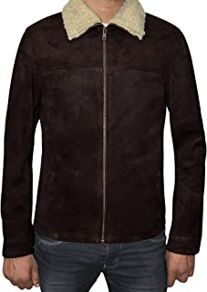 The American Fashion Men Suede Leather Jacket - Brown Fur Collar Jacket