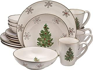 Bruntmor 16pc white Christmas Ceramic Dinnerware Set Dinner Plates Bowls Mugs 16 Piece, Classic, Service For 4