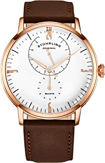 Stührling Original Mens Watches Horween Leather Watch Band - Minimalist Analog Dress Watch - Wrist Watch Domed Crystal - Mens Watch - 24 Hour Subdial- Watches for Men