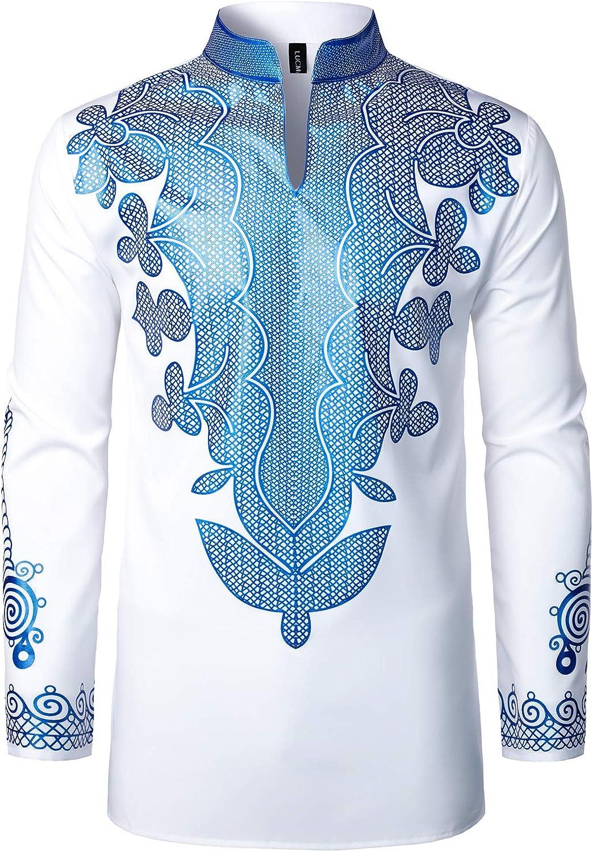LucMatton Men's African Dashiki Low Excellent price Shiny Luxury Pattern Print Manda