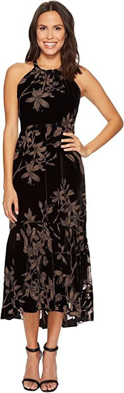 Vince Camuto - Printed Velvet Halter High-Low Midi Dress