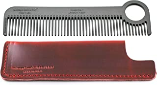 Chicago Comb Model 1 Carbon Fiber Comb + Crimson Red Horween leather sheath, Made in USA, ultimate pocket and travel comb, ultra smooth strong & light, anti-static, premium American leather sheath