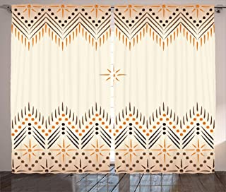 Geometric Decor Curtains by Ambesonne, Vintage Primitive Aztec Native American Motif with Folk Art Effect Print, Living Room Bedroom Window Drapes 2 Panel Set, 108W X 63L Inches, Peach Amber