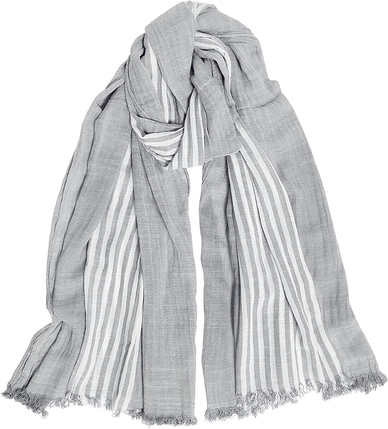 GERINLY Cotton-Linen Limited time sale Gorgeous Scarves Mens Long Stripe Scarf Crinkle