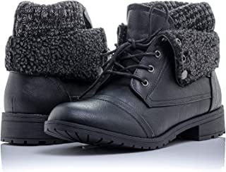 Patty-01 Women's Combat Style Lace Up Ankle Bootie Women's Hiking Boot with Rugged Low Heel