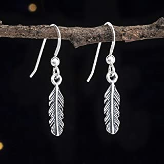 Sterling Silver Teeny Tiny Feather Earrings - Handmade, Solid .925