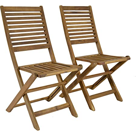 Charles Bentley FSC Acacia Wood Pair of Outdoor Foldable Chairs Max user weight: 160kg Fully assembled Slatted design