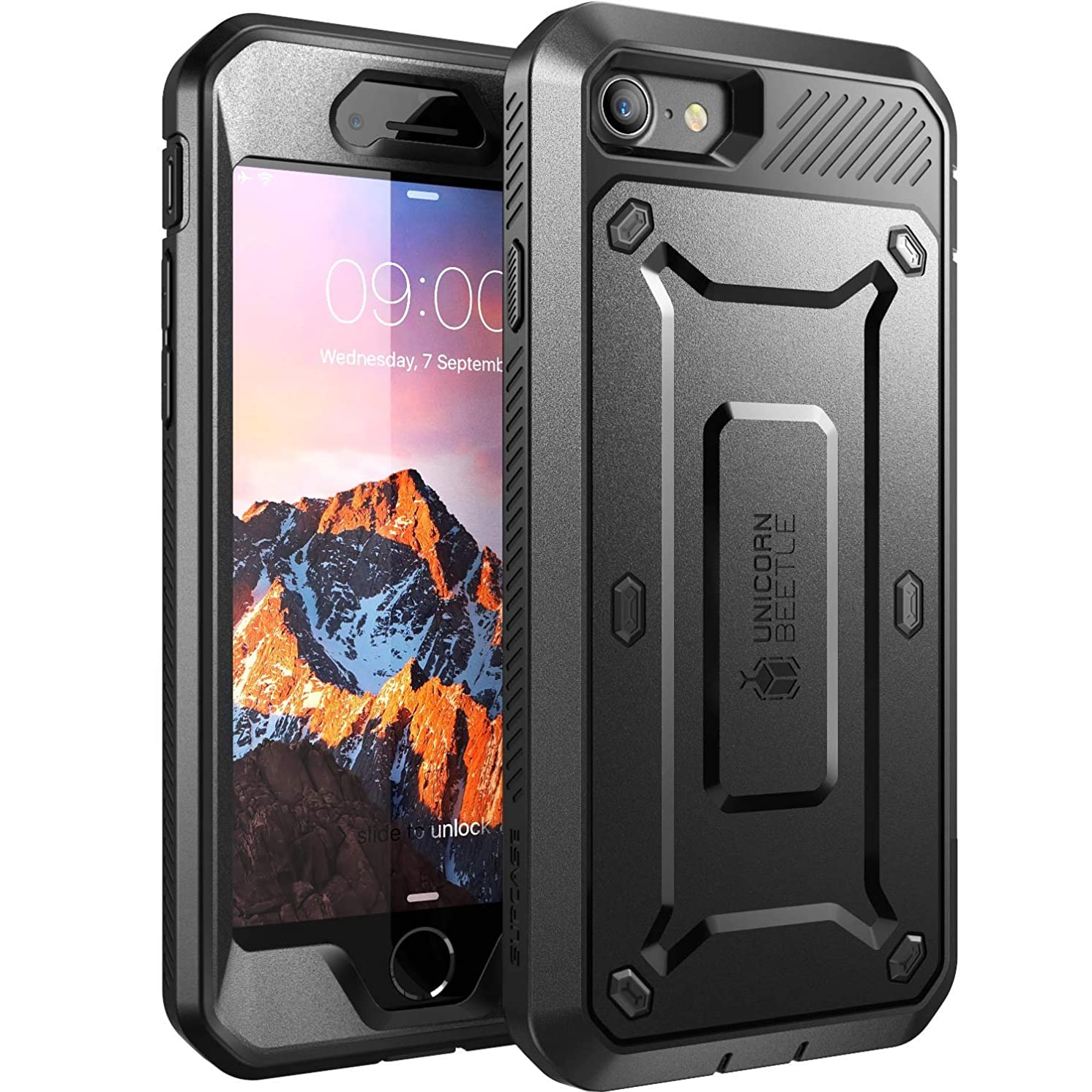 iPhone 7 Case, iPhone 8 Case, SUPCASE Unicorn Beetle PRO Series Full-Body Rugged Holster Case with Built-in Screen Protector for Apple iPhone 7 2016 / iPhone 8 2017 (Black) (Renewed)