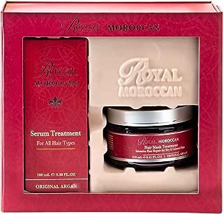 Royal Moroccan Formula Set - Hair Mask Treatment For Dry Hair 250 ml & Hair Serum Treatment For All Hair Types 100 ml For Dry Hair Base of Moroccan Argan oil, For color – Treated Hair, Frizzy Hair