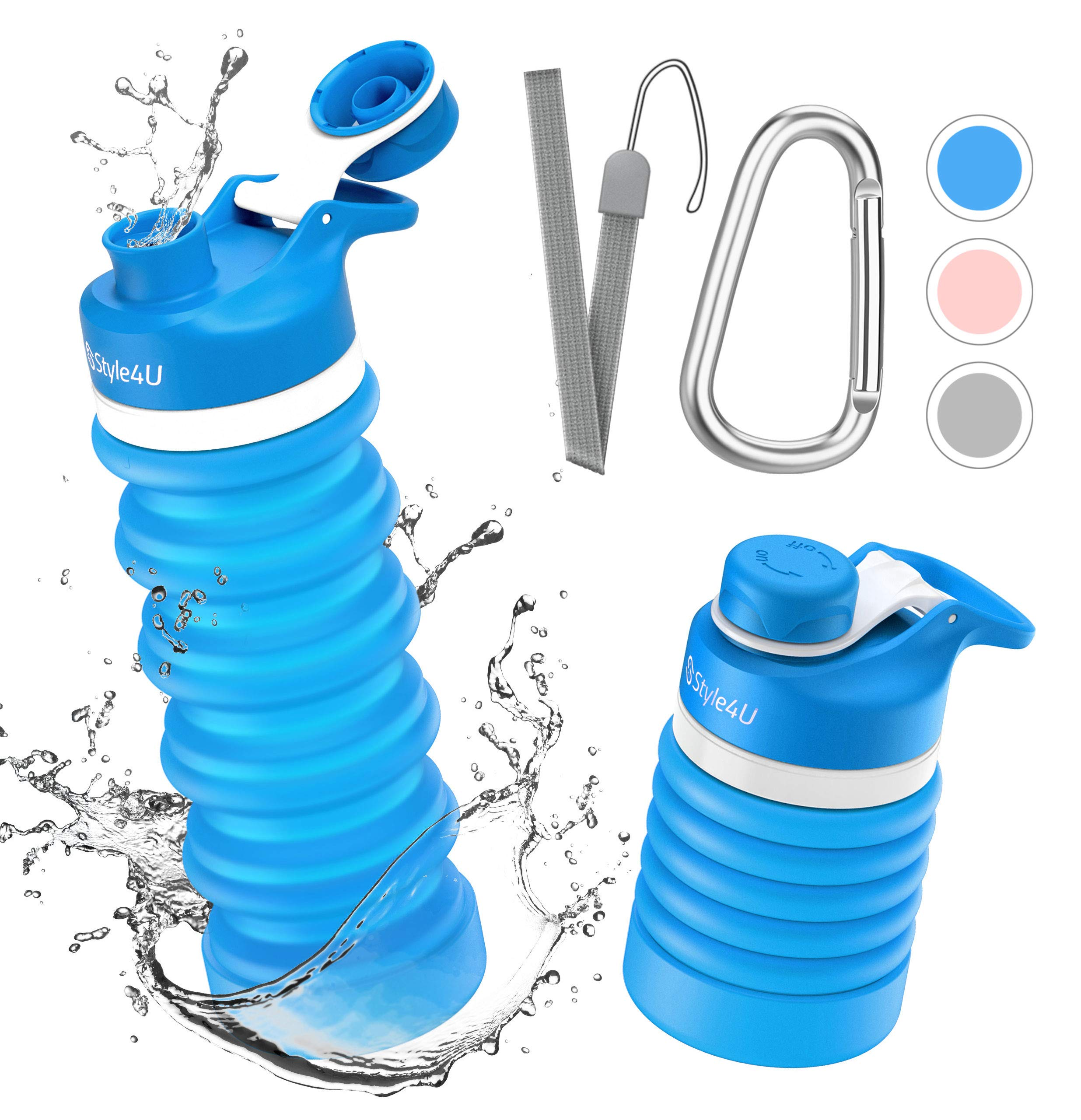 19OZ Collapsible Water Bottle Silicone BPA Free Reusable Leak Proof Hiking Gym