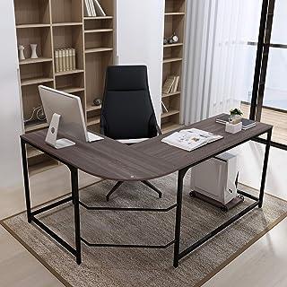 Teraves Reversible L-Shaped Desk Corner Gaming Computer Desk Office Workstation Modern..