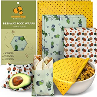 HUNNYBEE Reusable Beeswax Food Wrap (7 Packs), Zero Waste, Beeswax Wrap, Eco Friendly, Organic, Bees Wax Food Storage Wrap...