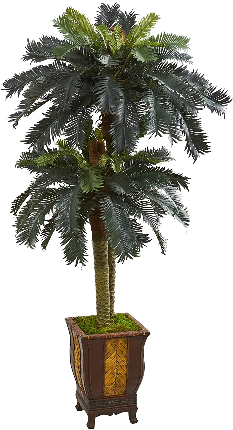 Nearly Natural Cheap 6' Double High quality new Sago Palm in Tree Designer Arti Planter