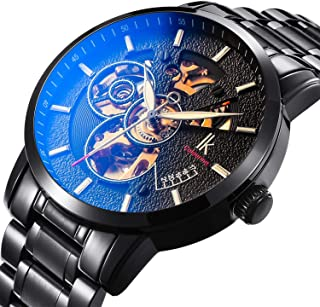 BesTn Wristwatches for Men self-Winding Allochroic Luminous Hands Skeleton Mechanical Black Watch
