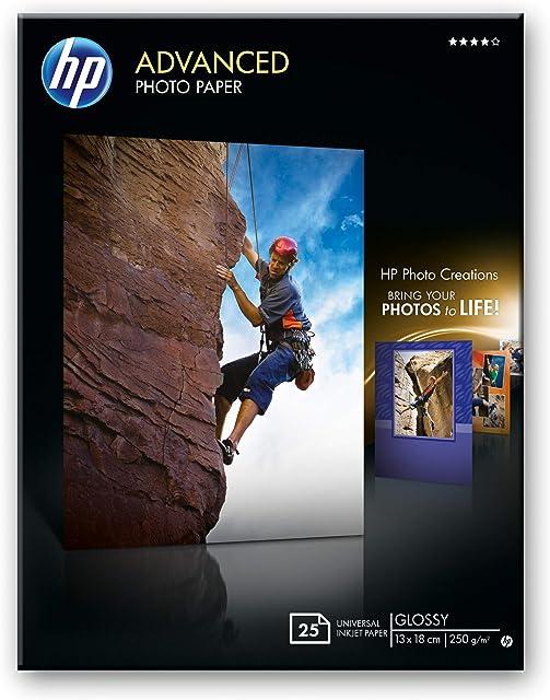 HP Advanced Q8696A- Papel fotográfico satinado con brillo (25 hojas 13 x 18 cm)