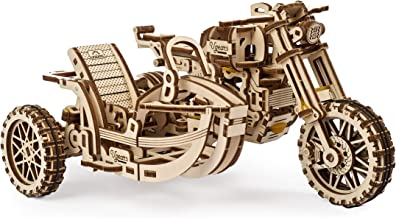UGEARS Motorcycle with Sidecar 3D Puzzles - UGR-10 Motorcycle Scrambler Wooden Model Kits for Adults to Build - Retro Desi...