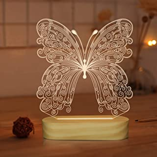 N / A 3D Optical Illusion Lamp Butterfly Night Light for Kids Baby Girl Bedroom Decor Gifts,Soft Warm White Colors Wooden ...