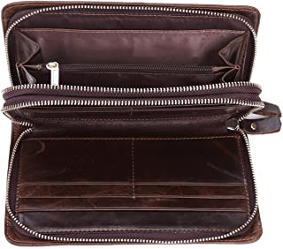 Men's Wallet Vintage Leather Large Capacity Clutch Bag Long Zip Money Clip JJXSHLFLL (Color : Brown, Size : M)
