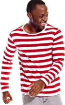 Mens Striped Shirt Long Sleeve Wide Stripes Crew Neck Tees Tops Casual