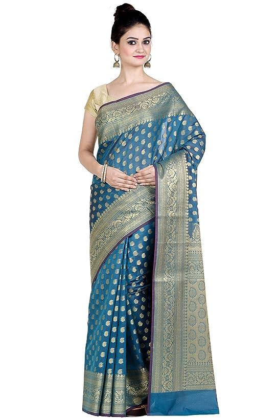 Chandrakala's Women's Cotton Silk Blend Indian Ethnic Banarasi Saree with unstitched Blousepiece(1105)