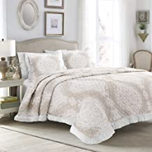Lush Decor, Taupe Lucianna Ruffle Edge Cotton 3 Piece Bedspread Set, Full/Queen